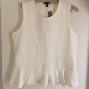J. Crew ivory peplum top. Large with tags.
